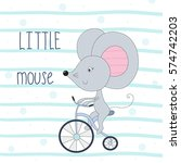 cute little mouse riding a... | Shutterstock .eps vector #574742203