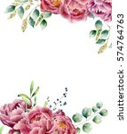 watercolor floral card isolated ... | Shutterstock . vector #574764763