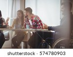 businessman on wheelchair using ...   Shutterstock . vector #574780903