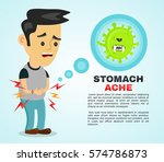 young sick man having stomach... | Shutterstock .eps vector #574786873