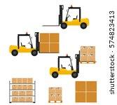 forklift truck in flat style.... | Shutterstock .eps vector #574823413