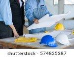 engineer meeting for... | Shutterstock . vector #574825387