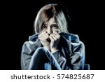 Small photo of lonely young teenager girl in stress and pain suffering depression looking sad and scared with fear face expression isolated on black background victim of abuse or in mental condition