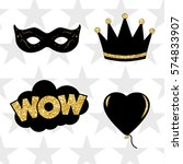 photo booth props vector... | Shutterstock .eps vector #574833907