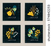 four square cards. hand drawn... | Shutterstock .eps vector #574842253