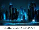 night city background  vector... | Shutterstock .eps vector #574846777