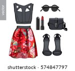 lady fashion set of spring ... | Shutterstock .eps vector #574847797