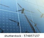wind turbine reflected on the... | Shutterstock . vector #574857157