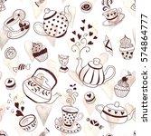 tea time seamless background.... | Shutterstock .eps vector #574864777