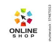 online shop logo. online... | Shutterstock .eps vector #574875313