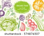 vegetables top view frame.... | Shutterstock .eps vector #574876507