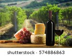 red wine in vintage light with... | Shutterstock . vector #574886863