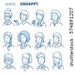set of various unhappy women in ... | Shutterstock .eps vector #574891207