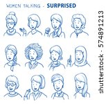 set of various surprised women... | Shutterstock .eps vector #574891213