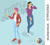 two casual style ladies wearing ... | Shutterstock .eps vector #574910563