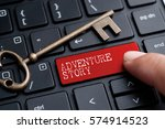 Small photo of Closed up finger on keyboard with word ADVENTURE STORY