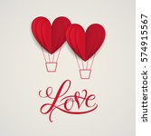 cut paper red valentine hearts... | Shutterstock .eps vector #574915567