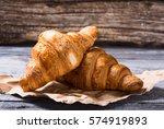 Tasty Buttery Croissants On Ol...