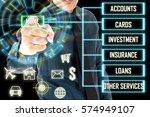 business man touch a home...   Shutterstock . vector #574949107