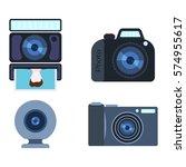 retro photo camera set vector...   Shutterstock .eps vector #574955617
