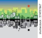 vector green building with...   Shutterstock .eps vector #574957867