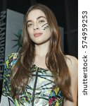 Small photo of New York, NY USA - Feb 7, 2017: Model shows off dress by Alexandra Polo & Miguel Moyano of Ecuador for Epson Digital Couture project presentation during 2017 fall New York Fashion week at IAC building