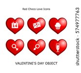 set valentines day objects red...
