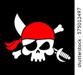 pirate flag skull. black banner ...   Shutterstock .eps vector #575012497