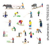 lifestyle of farmer shape... | Shutterstock .eps vector #575031313