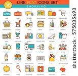 shopping flat line icon set.... | Shutterstock . vector #575035693