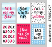 happy valentines day typography ... | Shutterstock . vector #575052607