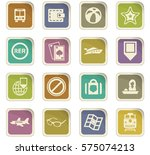 travel icon set for web sites... | Shutterstock .eps vector #575074213