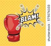 pop art red glove blam bubble...   Shutterstock .eps vector #575076103