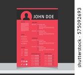 resume and cv vector template.... | Shutterstock .eps vector #575092693