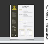 resume and cv vector template.... | Shutterstock .eps vector #575092747