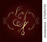 beauty salon and barber shop... | Shutterstock .eps vector #575092753