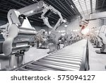 3d rendering robotic arm with... | Shutterstock . vector #575094127