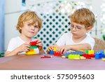 two little blond preschool kids ... | Shutterstock . vector #575095603