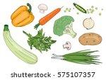 vegan food ingredients ... | Shutterstock .eps vector #575107357