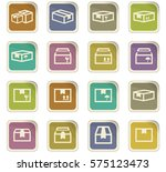 simple set of box and crates... | Shutterstock .eps vector #575123473