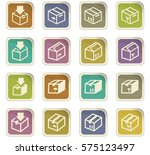 simple set of box and crates... | Shutterstock .eps vector #575123497