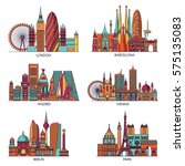 skyline detailed silhouette set ... | Shutterstock .eps vector #575135083