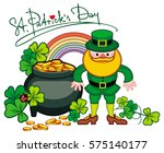 holiday label with shamrock ... | Shutterstock .eps vector #575140177