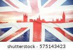 Small photo of flags of UK and EU combined over icons of London - Brexit concept