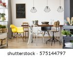 communal table in bright and... | Shutterstock . vector #575144797