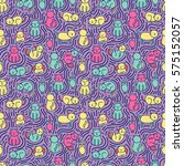 seamless pattern with funny... | Shutterstock .eps vector #575152057