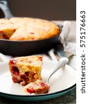 Small photo of corn strawberry skillet bread.selective focus