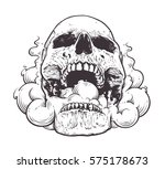 smoking skull art.tattoo style... | Shutterstock .eps vector #575178673