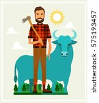 paul bunyan and babe the blue... | Shutterstock .eps vector #575193457