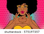 wow pop art face. sexy young... | Shutterstock .eps vector #575197357